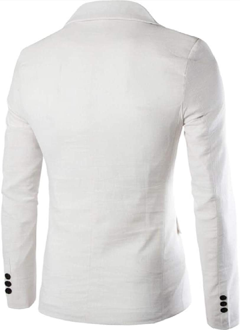 M/&S/&W Mens Suit Coat Tops Linen Cotton Pure Color Blazer with Pocket Dress Suit