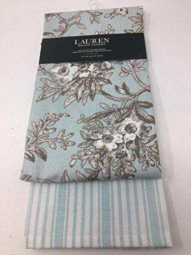 Lauren Ralph Lauren Blue /Brown Toile Floral and Stripe Kitchen Tea Towel Set - Set of - Exchange Lauren Ralph