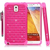 Galaxy Note 3 Case, Style4U Studded Rhinestone Crystal Bling Hybrid Armor Case Cover for Samsung Galaxy Note 3 N9000 N7200 with 1 HD Screen Protector and 1 Stylus [Hot Pink / Hot Pink]