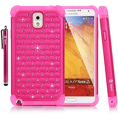 Galaxy Note 3 Case, Style4U Studded Rhinestone Crystal Bling Hybrid Armor Case Cover for Samsung Galaxy Note 3 N9000 N7200 with 1 HD Screen Protector and 1 Stylus [Hot Pink / Hot Pink] by Style4U