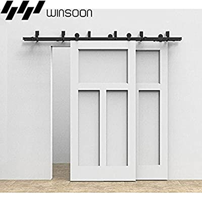 Winsoon T-Formed Sliding Bypass Barn Wood Door Hardware Kit New Style System Wall Mount Bracket Fit Double Wooden Doors