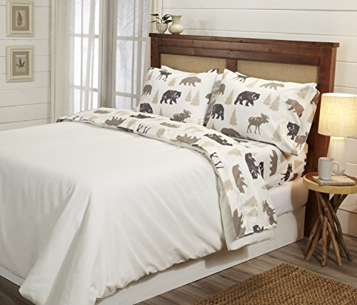 Great Bay Home 4-Piece Lodge Printed Ultra-Soft Microfiber Sheet Set. Beautiful Patterns Drawn from Nature, Comfortable… - LODGE PRINTED PATTERNS: Choose from a variety of beautiful, fade-resistant patterns drawn from the life of the American forest.. Each set comes with 1 fitted sheet, 1 flat sheet and 2 pillowcases (1 for Twin size). HOTEL/SPA QUALITY: These affordable microfiber sheets feel silky smooth against your skin. They're made from 90 GSM material that keeps you cool in the summer and toasty warm in winter. This 100% polyester fabric is WARM, SOFT, FLEXIBLE, and BREATHABLE for maximum sleep comfort. PERFECT FIT EVERY TIME: These DEEP POCKET sheets fit mattresses up to 17 inches deep, with a fully elasticized fitted sheet. They're available in Twin, Full, Queen and King sizes to fit any bed. See below for exact measurements. - sheet-sets, bedroom-sheets-comforters, bedroom - 51u0y1kTzTL -