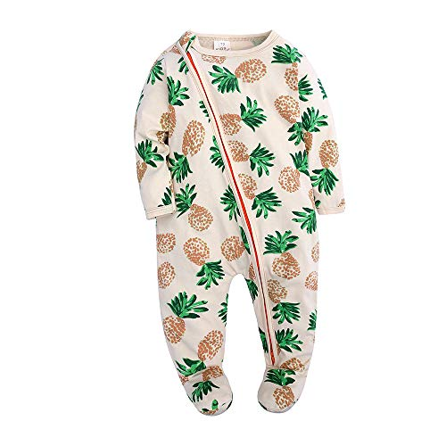 Kids Tales Baby Boys Long Sleeve Footies Zipper Romper Pineapple Pajama Onesies (Long Zipper Sleeve Double)