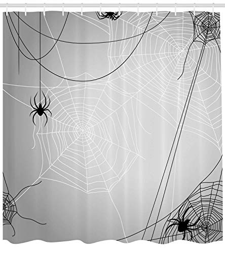 Spider Web Shower Curtain Spiders Hanging from Webs Halloween Inspired Design Dangerous Cartoon Icon Fabric Bathroom Decor Set with Hooks Black White 40