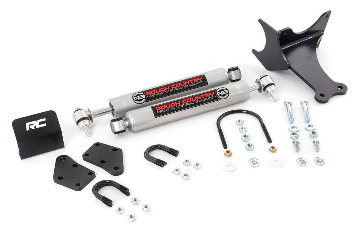 PERF87491 Rough Country Dual Steering Stabilizer w// Performance 2.2 Shocks