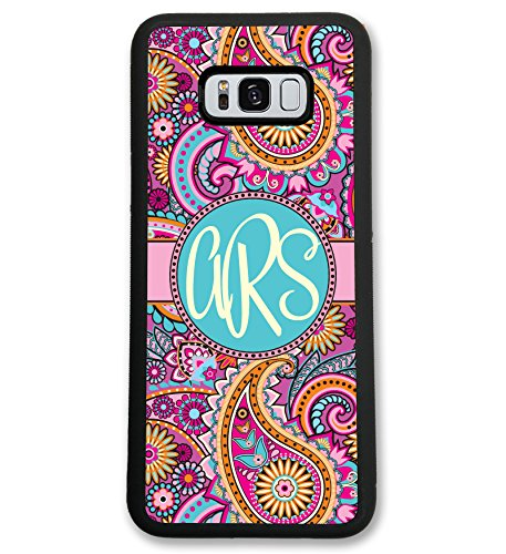 Simply Customized Case Compatible with Samsung Note 9 Pink Paisley Monogram Monogrammed Personalized ()