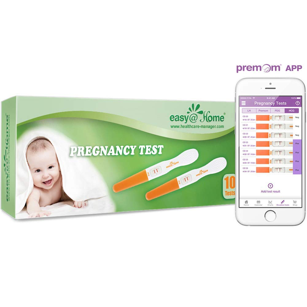 Easy@Home 10 Pregnancy Test Sticks - hCG Midstream Tests, FSA Eligible, Powered by Premom Ovulation Predictor iOS and Android App by Easy@Home