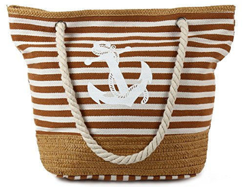 Pulama Womens Large Beach Tote Canvas Shoulder Bag Wave Striped Anchor Summer Handbag Top Handle Bag Straw Beach Bag Khaki Strip ()