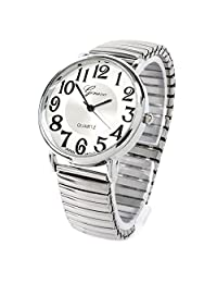 Silver Large Face Geneva Stretch Band Fancy Women's Watch