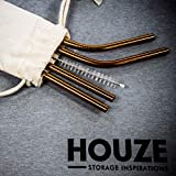 HOUZE Stainless Steel Straw, Rose Gold, Set of 4, KN-6111