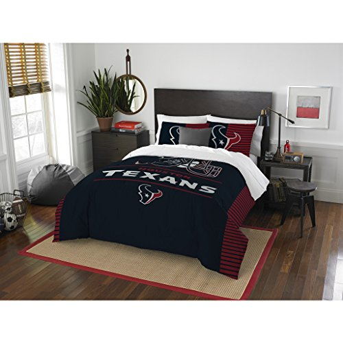 Houston Texans Comforter Set Bedding Shams NFL 3 Piece Full-Queen Size 1 Comforter 2 Shams Football Linen Applique Bedroom Decor Imported
