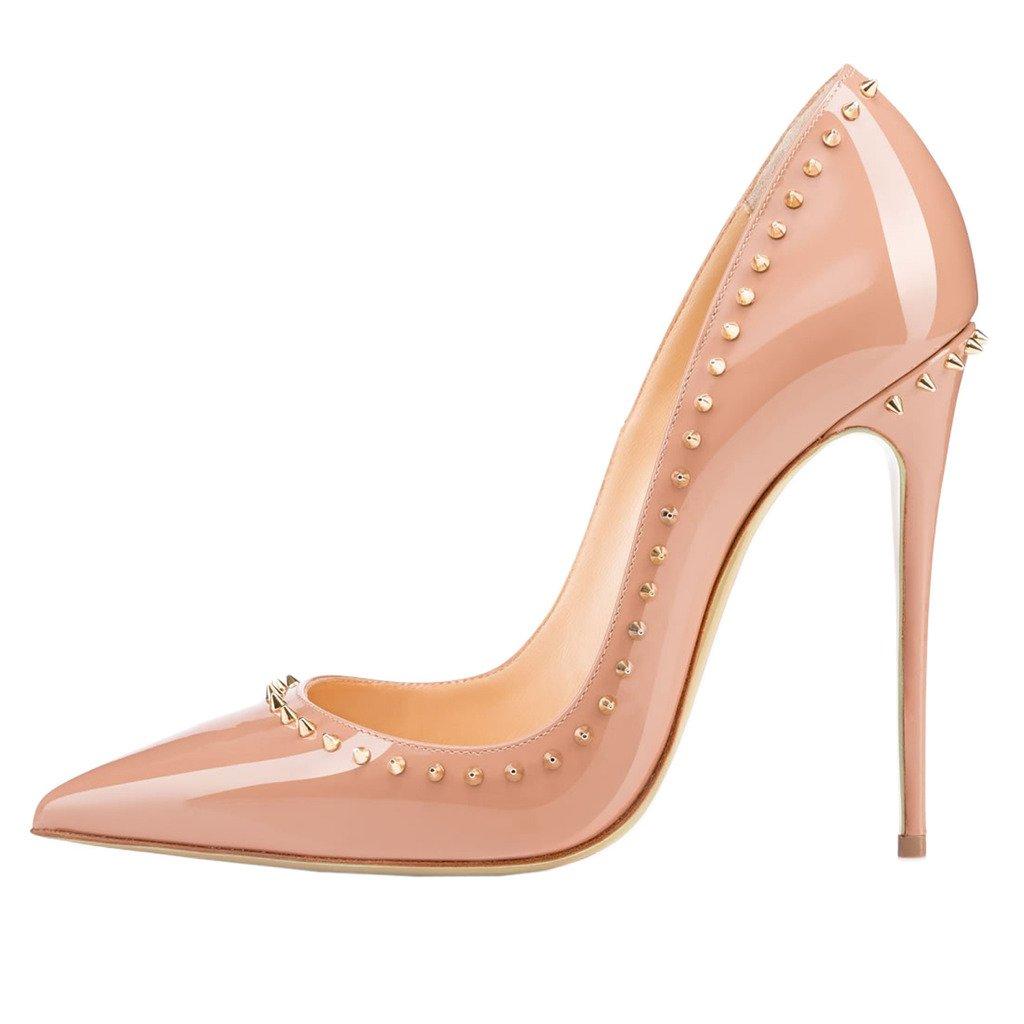 EKS - Zapatos de tacón alto con remaches Mujer 36 EU|- Nackt-12cm