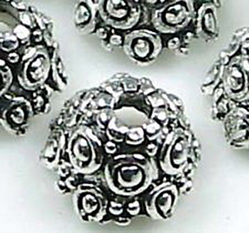 6mm Cloisonne Beads (Burts Beads - 8 Silver Pewter Knot Caps 11x6mm Beads Lead-Free NJOY12860)