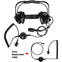 Maxtop AHDH0032RC-BK-Y3 Two Way Radio Noise Cancelling Headset With Extra Cable for Vertex Standard VX-417 VX-418 VX-427