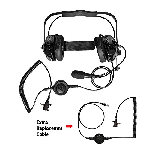 (Maxtop AHDH0032RC-BK-Y3 Two Way Radio Noise Cancelling Headset With Extra Cable for Vertex Standard VX-417 VX-418 VX-427)