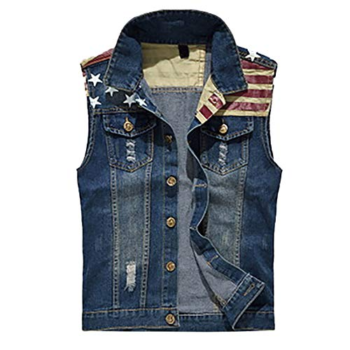 (Trendy Tops Mens Denim Vest Casual Cowboy Jacket with Holes in Shoulder Blouse Blue)