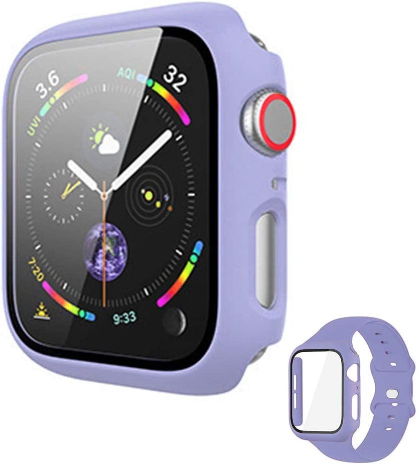 Vopteep Watch Case [Band Included] Compatible for Apple Watch Series 6/SE/5/4 Durable Soft Silicone Strap with Slim Full Coverage Matte Hard Case Replacement for iWatch(Lilac,44mm S/M)