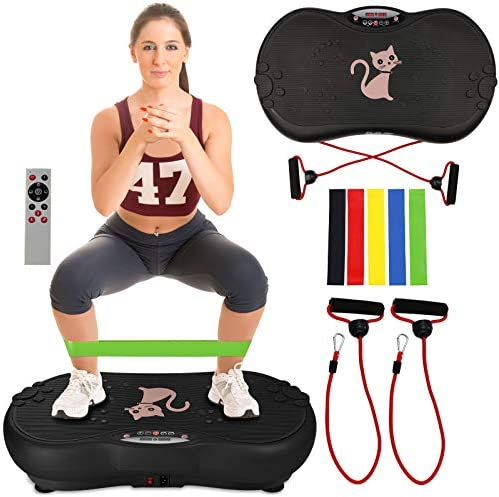 Ravs Vibration Plate Exercise Machine Whole Body Workout Machine Vibration Fitness Platform Machine Home Training Equipment with Resistance Bands, Remote Control and Max Load 330lbs 1
