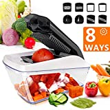 Vegetable Chopper Fun Life Mandoline Slicer Onion Chopper Dicer Food Chopper Pro Cuber Cutter, Cheese Grater Multi Blades for Onion Potato Tomato Fruit Extra Peeler Included