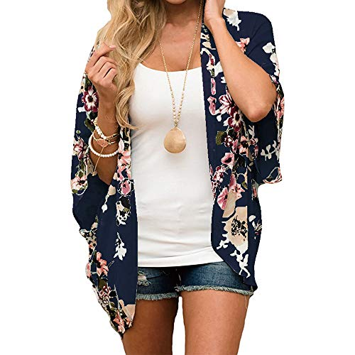 Women Floral Kimono Cardigan Chiffon Casual Loose Open Front Cover Up Tops Navy