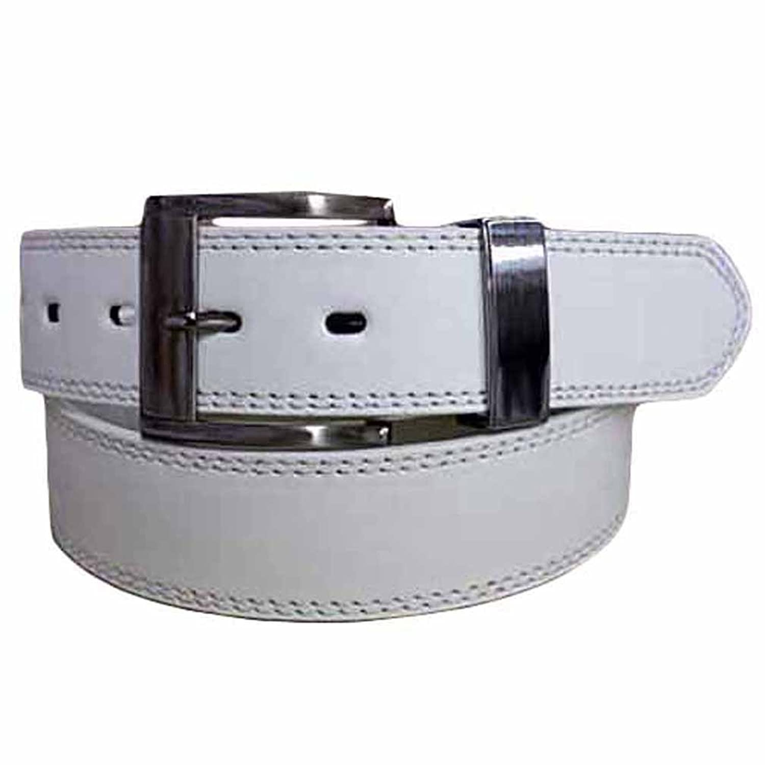 Luxury Divas White Leather Pants Belt With Chrome Buckle