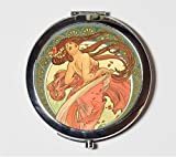 Alphonse Mucha Compact Mirror Art Nouveau Edwardian Long Hair Bohemian Gypsy Boho Make Up Pocket Mirror for Cosmetics