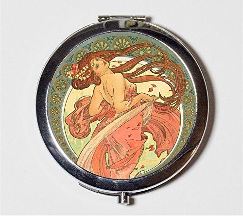Alphonse Mucha Compact Mirror Art Nouveau Edwardian Long Hair Bohemian Gypsy Boho Make Up Pocket Mirror for Cosmetics by Fringe Pop