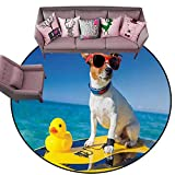 """Polyester Rubber Door Mats Rubber Duck,Dog with Sunglasses and Rubber Duck on Surfboard at Ocean Shore Fun Summer,Multicolor Diameter 54"""" Round Large Area Rugs"""