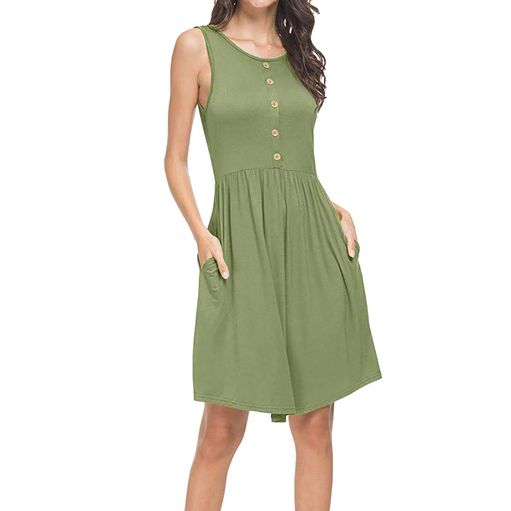 Women's Summer Sundress Casual Loose Midi Backless Button Swing Dresses with Pockets S-3XL (2XL, Green)