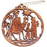 """Magi (Kings from the East) Olive Wood Christmas Ornament - Laser carving (8.7 cm or 3.4"""" diameter)"""