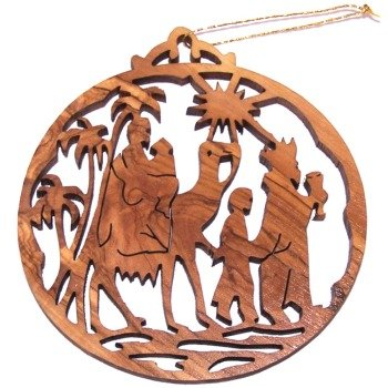 Magi (Kings from the East) Olive Wood Christmas Ornament - Laser carving ( 8.7 cm or 3.4
