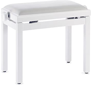 Stagg PB39 WHM VWH Piano Bench With Matte White Finish And White Velvet Seat