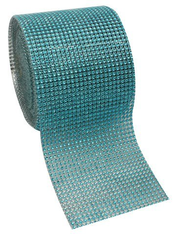 Turquoise Diamond Rhinestone Mesh Ribbon, Wedding Ribbon, Diaper Cake Ribbon, 4.75