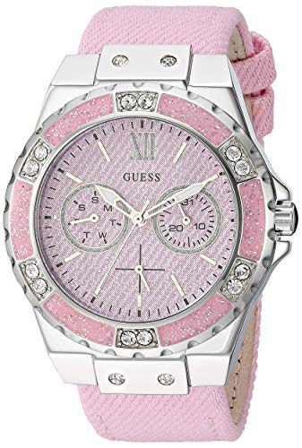 GUESS  Stainles Steel + Pink Denim Leather Watch with Day + Date Functions. Color: Pink (Model: - Pink Guess Watch