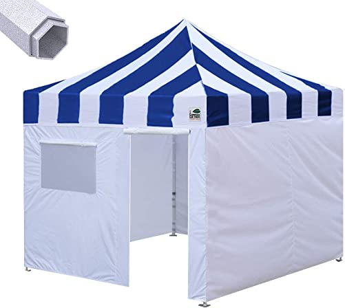 Eurmax Premium 10 x10 Ez Pop-up Canopy Tent Commercial Instant Canopies Shelter with Removable Sidewalls Bonus Wheeled Carry Bag Striped Blue