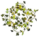 Omika Ivy Green Leaf Garland String Lights - Vine Fairy Lights - 6.5ft 20 LED Flexible Copper Battery Powered - Perfect for Indoor, Bedroom, Wedding, Party Decorations(Warm White)