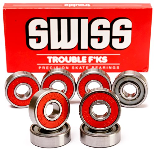 Trouble Skateboards Precision Bearings for Skateboard Longboard Roller Blade | Swiss | Fast since 1996 (TB1)