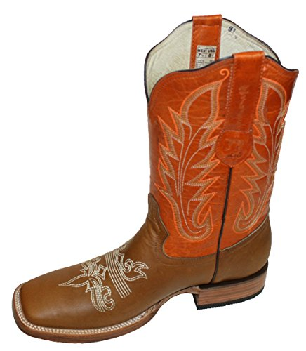 Toe Mens Boots Up Square Leather Genuine boots Hide Cowboy Pull Tan Cow XqXr0