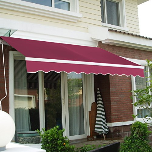 Goplus Manual Retractable Awning Patio Canopy Deck