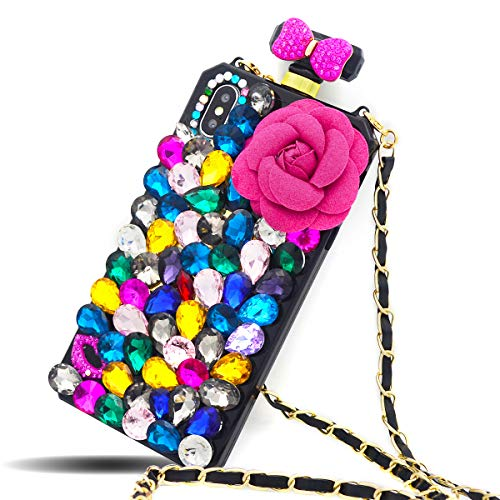 Fusicase for iPhone XR Case Luxury 3D Handmade Shiny Crystal Sparkle Rhinestone Diamond Bow Bowknot Cover with Camellia Flower Creative Perfume Bottle Case for iPhone XR