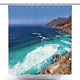 What Are the Measurements of a California King Size Bed vanfan-Durable Shower Curtains California Beach Near Bixby Bridge In Big Sur In Monterey County Along State Route Us_ Polyester Bathroom Shower Curtain Set With Hooks(66 x 72 inches)
