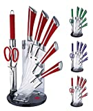 Set de couteaux 8pièces Set de Bloc à couteaux en acrylique inclus–Couteau de cuisine–Couteau de chef–Set de couteaux–Ciseaux–Couteau à pain–lame multifonctions rouge