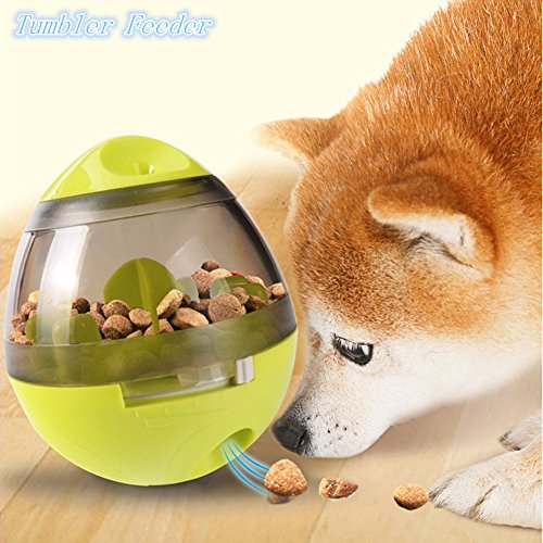 Totoo Dog Treat Dispenser Ball Toy, Interactive Treat-dispensing Ball for Dogs & Cats: Increases IQ and Mental Stimulation, Tumbler Design Easy to Clean(Green)