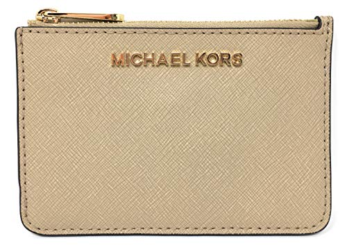 (Michael Kors Jet Set Travel Small Top Zip Coin Pouch with ID Holder in Saffiano Leather (Bisque))
