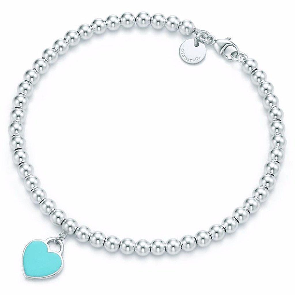 Mini Heart Tag Bead Bracelet Sterling Silver