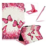 Wallet Kickstand Case for Amazon Kindle Paperwhite 1/2/3/4,Herzzer Stylish Pretty [Butterfly Flower Pattern] PU Leather Wallet Purse Folio Stand Card Slot Cover with Soft TPU