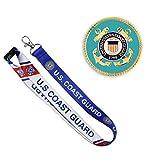 PinMart Gold US Coast Guard Lapel Pin & Matching Lanyard Military 2 Piece Bundle