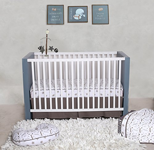 Bacati Football 100% Cotton 3 Piece Boys Crib Set with 4 Layer Lux Blanket/Fitted Sheet/Skirt, - Football Baby Mobile