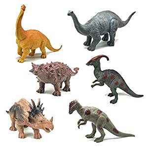 Dinosaur Figure Toys 6 Pieces 7″ Plastic Assorted Realistic Dinosaur Toys Playset for Cool Kids and Toddler Education(Ankylosaurus Toy Set of 6)