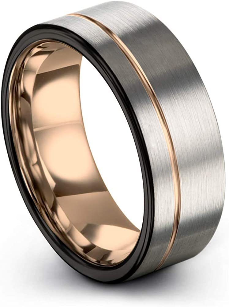 Midnight Rose Collection Tungsten Wedding Band Ring 9mm for Men Women 18k Rose Yellow Gold Plated Flat Cut Off Set Line Black Grey Brushed Polished